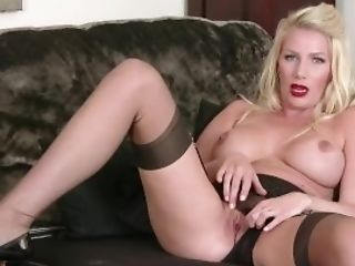 Posh Huge-boobed Blonde Danielle Maye Strips Off Undergarments Masturbates In Nylons
