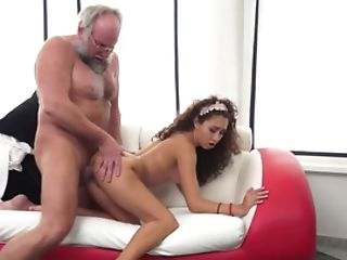 A Curly Lengthy Haired Minx Is Experiencing A Grandfather Inwards Her Humid Vagina