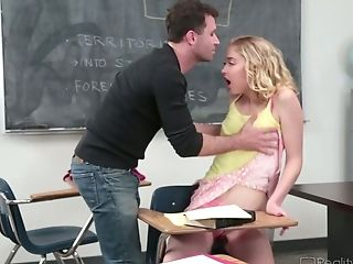 Yummy School Blonde Chloe Couture Is Fucked On The Lecturer's Table