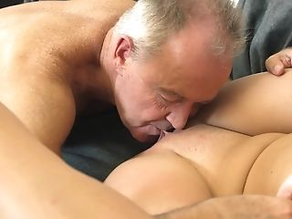 Grand-pa Cums On Nubile Tits After She Elations His Man Rod