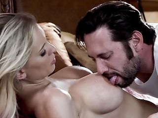 Addictive Blonde Completes Up Soaked In The Guy's Sperm