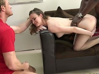 Adorable Auburn Haired Milky Gf Blows Black Dick And Fucks