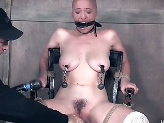 Subjugated Bald Canadian Bi-atch Gets Her Slit Taunted With Wand During Domination & Submission