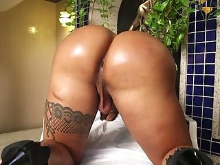 Tattooed And Pierced Tranny Isabelle Ferreira Is Jerking Off Her Hard Dick