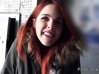 Red-haired Spanish Student From Public Banging