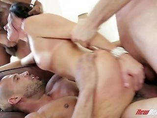 Hump-starved Cougar India Summer Is Fucked By Three Furious Dudes